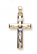 9ct two tone Gold Crucifix on wide Tubular Cross Pendant 1.4g